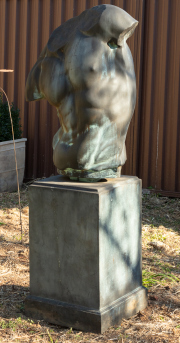 Sale 8795A - Lot 14 - A Pietro male torso on pedestal, manufactured from glass reinforced concrete, H 165cm