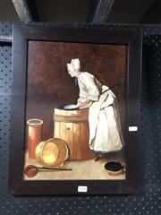 Sale 8824 - Lot 2084 - Artist Unknown - Lady At Work, oil painting