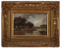 Sale 8934H - Lot 83 - Thorn, a late Victorian Landscape with Pond 1877, oil on canvas, indistinctly signed an dated lower right, 19cm x 29.5cm