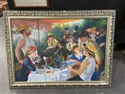Sale 8936 - Lot 2078 - Artist Unknown Luncheon of the Boating Party (After Renoir)acrylic, 100 x 136cm (frame)