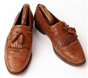 Sale 9080F - Lot 14 - A PAIR OF CESARE PACIOTTI LOAFERS; in tan leather, Size 8 (shoe last included)
