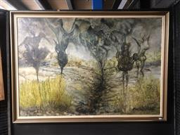 Sale 9152 - Lot 2032 - Barbara Matuszewsk-Nowicka, Spirits in landscape (1989), oil on linen, frame: 98 x 139 cm, signed and dated lower right