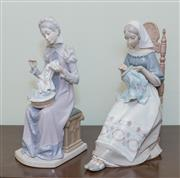 Sale 8368A - Lot 61 - Two Lladro figures of women sewing, each H 30 cm