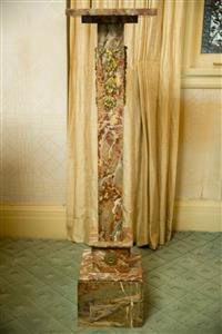 Sale 8392H - Lot 8 - A variegated marble square form pedestal with ormolu applied husk decoration, H 108cm x W 27cm