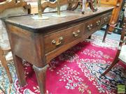 Sale 8416 - Lot 1007 - Georgian Oak Dresser Base, with plate rail, three drawers & cabriole legs (restorations)