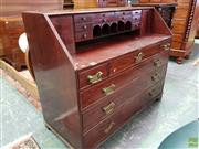 Sale 8576 - Lot 1071 - George III Mahogany Bureau, with well fitted desk area & arrangement of six drawers (missing fall-front, replaced handles & feet)