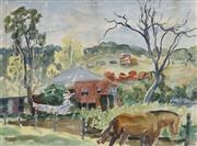 Sale 8730 - Lot 2013 - William Torrance (1912 - 1988) - Country Home with Washing 27 x 37cm