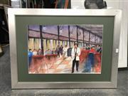 Sale 8807 - Lot 2089 - Angela -Florian Tearoom, watercolour, signed 35x52cm