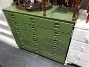 Sale 8988 - Lot 1043 - Green Painted Chest of 12 Drawers (H:98 W:113 D:46cm)