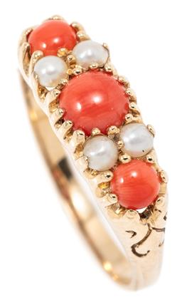 Sale 9145 - Lot 369 - A VICTORIAN STYLE CORAL AND PEARL RING; belcher set in 9ct gold with 3 cabochon corals and 4 seed pearls, size N1/2, width 6mm, wt....