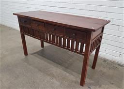 Sale 9146 - Lot 1032 - Timber 4 drawer hall table (h:75 w:131 d:55cm)