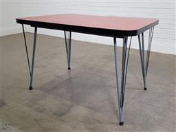 Sale 9191 - Lot 1099 - Vintage metal based dining table with 6 moulded plastic chairs (h:78 x w:122 x d:81cm)