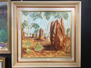 Sale 8730 - Lot 2055 - Artist Unknown - Termite Mounds, oil on board, 80 x 84cm (frame size), unsigned