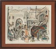Sale 8878 - Lot 2019 - Edward Smith (1883-) - Rugseller, Jerusalem Old City Market 29 x 35cm