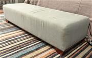 Sale 8904H - Lot 58 - A sage linen upholstered ottoman. Height 42cm x Width 62cm x Length 180cm
