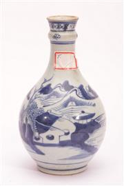 Sale 9015C - Lot 772 - A Blue and White Village Themed Bulbous Vase (H 21.5cm)