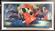 Sale 9061 - Lot 2047 - Artist Unknown (Julian) Matadoresdecorative print, frame: 77x 138 cm, facsimile signed lower right -