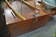 Sale 8337 - Lot 1099 - Large Metal Lift Top Trunk