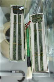 Sale 8339 - Lot 74 - Jade Chopsticks & Stands with a Brush