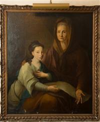 Sale 8392H - Lot 10 - C18th English School - Familial Portrait 102 x 96cm