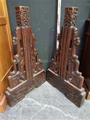 Sale 8462 - Lot 1009 - Two Carved Oriental Screen Stands