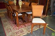 Sale 8554 - Lot 1040 - Farmhouse Dining Table with Eight Chairs