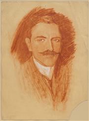 Sale 8683 - Lot 555 - Norman Lindsay (1879 - 1969) - Portrait of a Young Man, 1907 37.5 x 27cm
