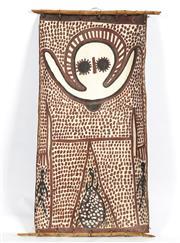 Sale 8718 - Lot 536 - Lily Karedada (c1937 - ) - Wandjina natural pigments on bark