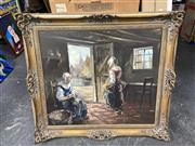 Sale 8878 - Lot 2073 - C17th Dutch Style Domestic Painting, oil on canvas, 86 x 99cm (frame size)