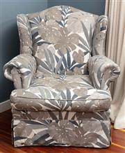 Sale 8904H - Lot 59 - A wingback armchair upholstered in contemporary palm leaf fabric. Height of back 100cm x Width 90cm
