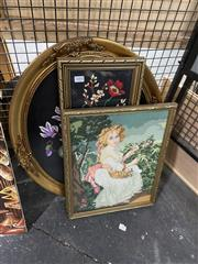 Sale 8924 - Lot 2084 - 3 Works: Two Floral Tapestries In Gilt Frames With Another Of A Woman