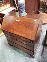 Sale 9031 - Lot 1016 - Georgian Style Oak Bureau, with fitted interior & five drawers, on bracket feet