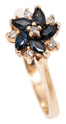Sale 9145 - Lot 381 - A 10CT GOLD DIAMOND AND GEMSET FLORAL CLUSTER RING; featuring a swirl of 5 navette cut blue sapphires surrounded by 6 single cut dia...