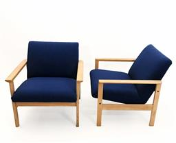 Sale 9252AD - Lot 5048 - PAIR SWEDESE OAK EASY CHAIRS, 1960s: classic Scandinavian soaped oak frame, reupholstered in Danish wool and new cushion inserts, el...