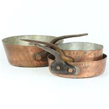 Sale 8351A - Lot 3 - Three Varied French Copper Pans with Impressed Mark HME diameter 17-25cm(approx weight 5kg)