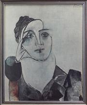 Sale 8320 - Lot 821 - Picasso framed print of a Cubist portrait of a woman with a turban circa 970
