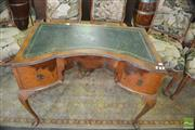 Sale 8383 - Lot 1416 - Leather Inlaid Desk with Three Drawers on Carved Cabriole Legs