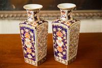 Sale 8392H - Lot 11 - A pair of decorative Imari facetted vases, H 31cm