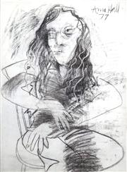 Sale 8410A - Lot 5050 - Anne Hall (1945 - ) - Untitled, 1977 (Seated Model with Spectacles) 76.5 x 56cm (sheet size)