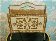 Sale 8448A - Lot 44 - Vintage Italian Florentine timber magazine holder featuring beautiful gilded accents throughout with fleur de lis motif Condition:...