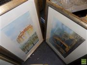 Sale 8495 - Lot 2038 - Jim Keller (2 works) - Mediterranean Town; Cathedral frame size: 86.5 x 59cm; 61 x 79cm