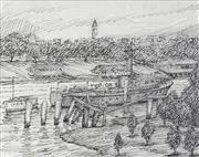 Sale 8730 - Lot 2015 - William Torrance (1912 - 1988) - North Quay River Bank, Brisbane 12.5 x 15.5cm