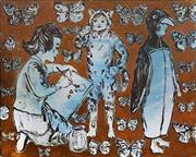 Sale 8938 - Lot 554 - David Bromley (1960 - ) - Butterflies and Art Class 120 x 150 cm