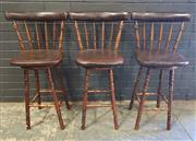Sale 8979 - Lot 1081 - Set of Six Timber Barstools with Leather Seats (H:100 x  W:38cm)