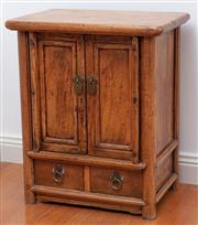 Sale 9005H - Lot 32 - A C19th Chinese Catalpa wood cabinet of two drawers and two doors, Height 52cm x Width 45cm x Depth 30cm
