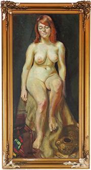 Sale 9058 - Lot 2024 - Paul Delprat (1942 - ) - Seated Nude in Interior 83 x 38 cm (frame: 96 x 51 x 3 cm)