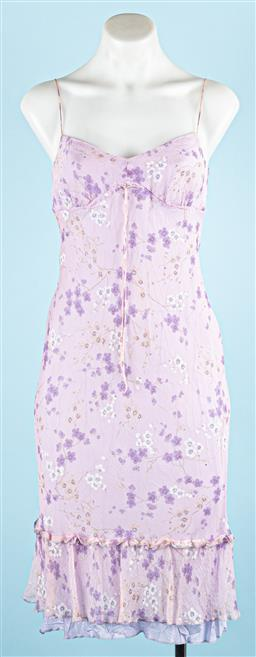 Sale 9091F - Lot 25 - A WHISTLES OF LONDON MAUVE SILK DRESS; with spaghetti straps, size UK8 US4