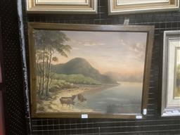 Sale 9111 - Lot 2039 - D. Campbell Highland Cows by the Loch, 1944, oil on board, frame: 40 x 50 cm, signed