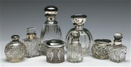 Sale 9138 - Lot 87 - A Selection Of Hallmarked Sterling Silver Lidded Scent Bottles (H: Of tallest 13cm)