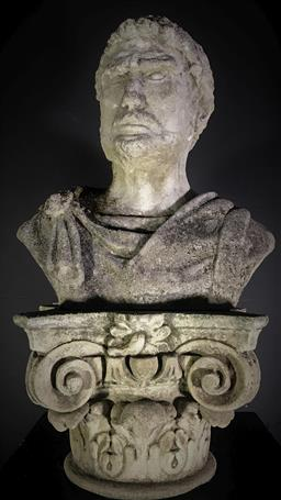 Sale 9190H - Lot 3 - Concrete bust of a Roman Emperor on Ionic form capital, total Height 70cm
